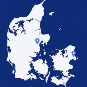 Danmarkskort med markeringer i Aahrus og København